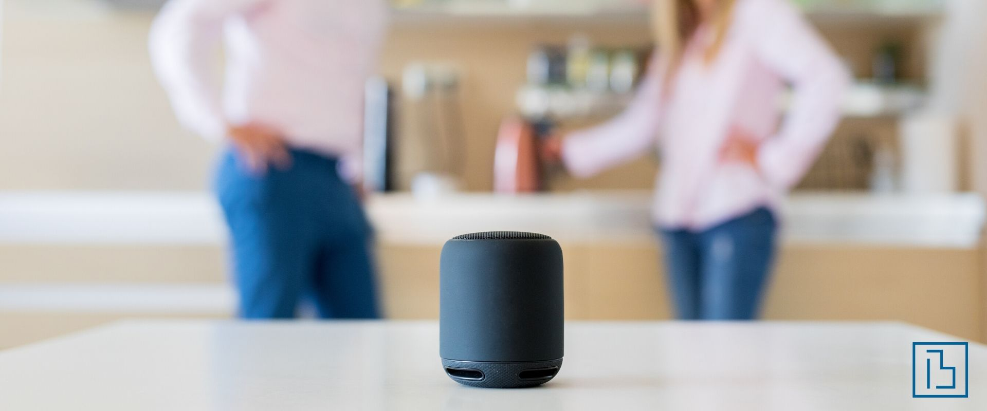 Smart home speaker on a counter